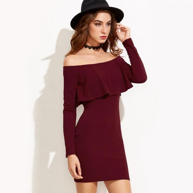 1d49a1365470 Women Sexy Off The Shoulder Slim Dress Autumn Long Sleeve Deep Wine Dress Elegant  Skin Tight Ladies Dress
