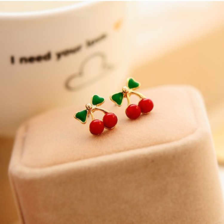 2016 New Fashion Pendientes Bijoux Fine Jewelry Gold Plating Cute Red Cherry Earrings For Women Boucle D'oreille Femme Brincos