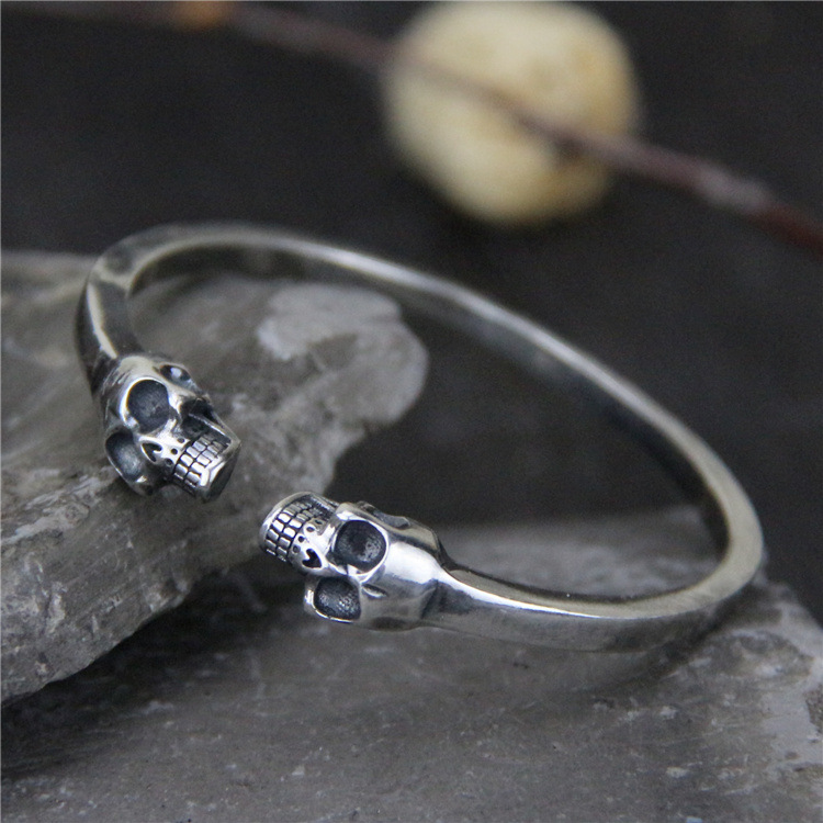 S925 Sterling Silver Domineering Double Skull Open Ended Men And Women Retro Thai Silver Solid Bangle