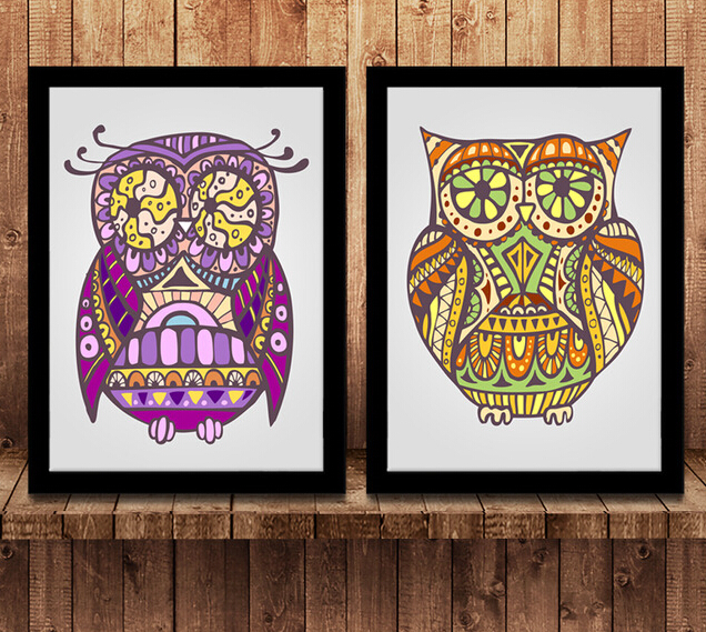 Owls Pattern Painting Ceramic Tile Material Plate Drawing