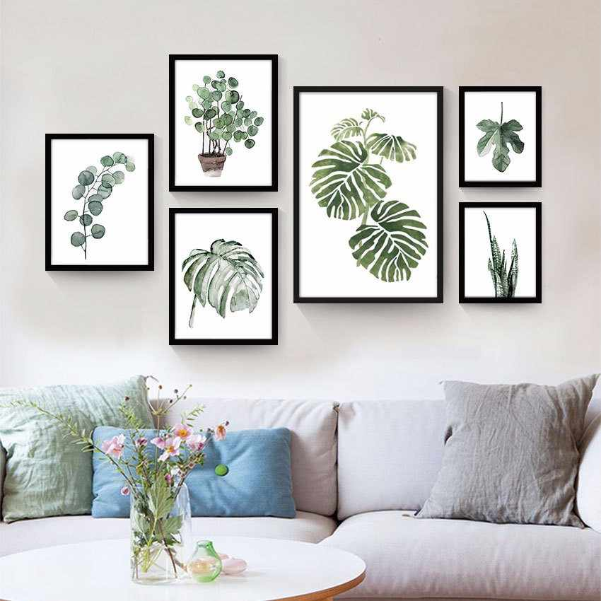 Plants oil Print Wall art poster watercolor canvas painting home Decor modern minimalist wall picture for Living room decoration