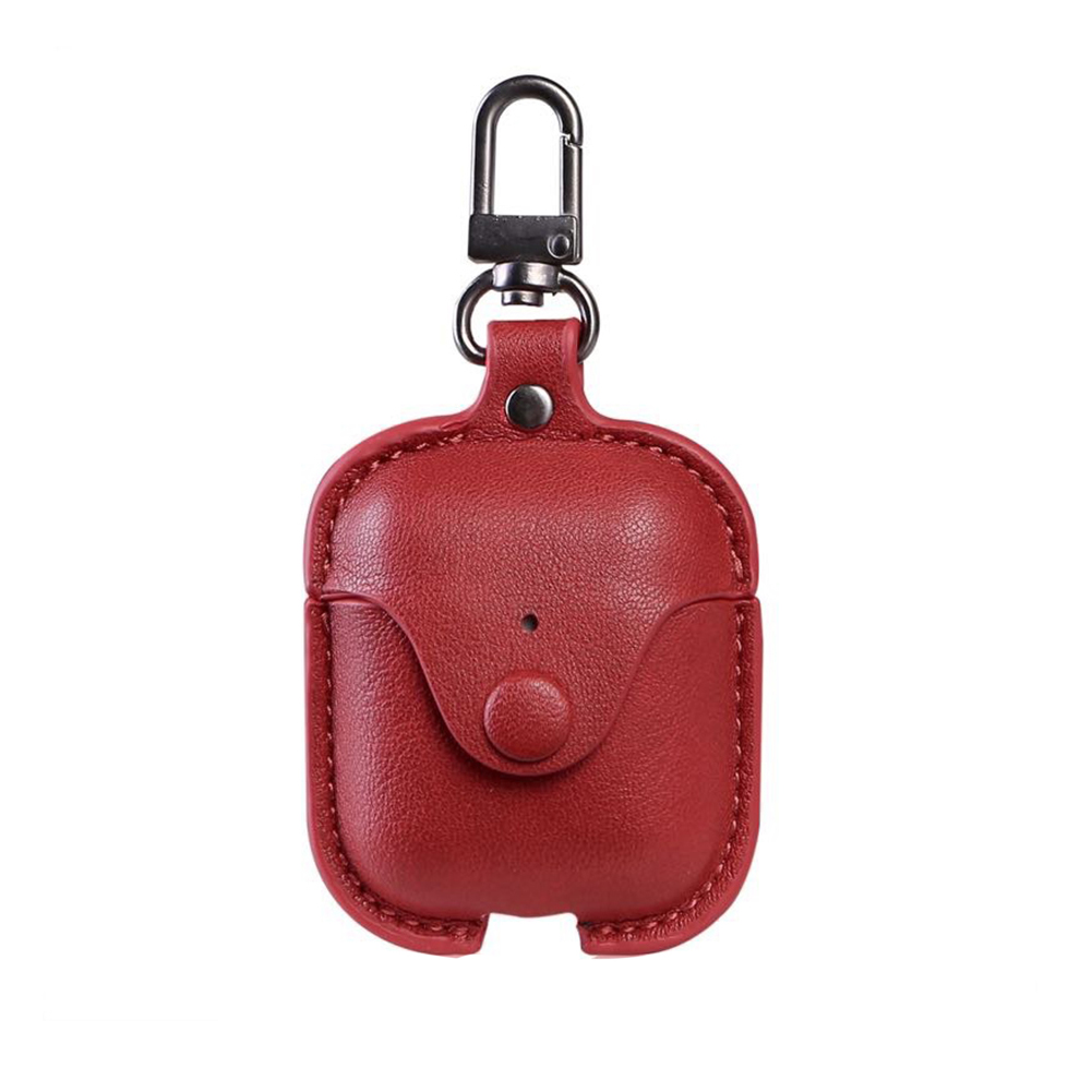 Wireless Headphones Simple Protective Cover Ultra Thin Earphone Case With Keychain Storage Bag Artificial Leather For Airpods 2