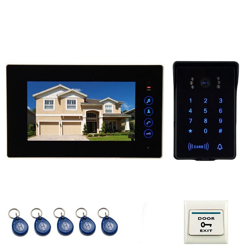 JEX 7 дюймов ЖК дисплей сенсорный ключ видео дверь домофон комплект 1 монитор + 700TVL Водонепроницаемый Пароль Клавиатура RFID камера в наличии