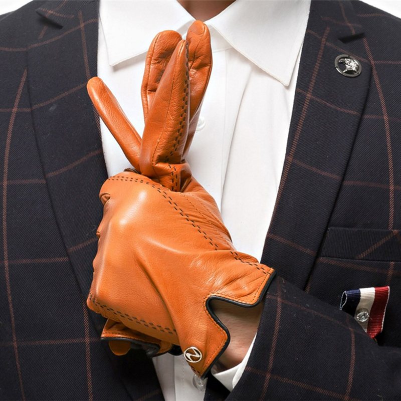 Mode hommes gants en cuir véritable hommes gants automne Plus velours chaud noir gants Nappa peau de mouton mâle mitaines livraison gratuite