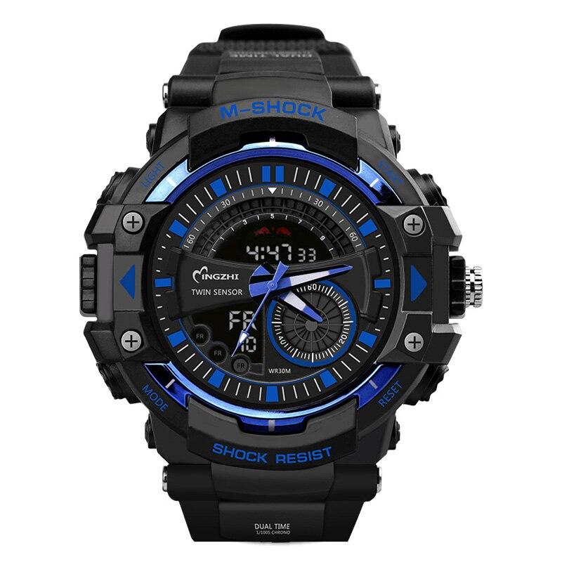 Sport Uhr Dual Time Display Männer Uhr Digital Writwatch LED 50 mt Wasserdicht herren Uhr Saat Marke Luxus Männlichen uhr 20