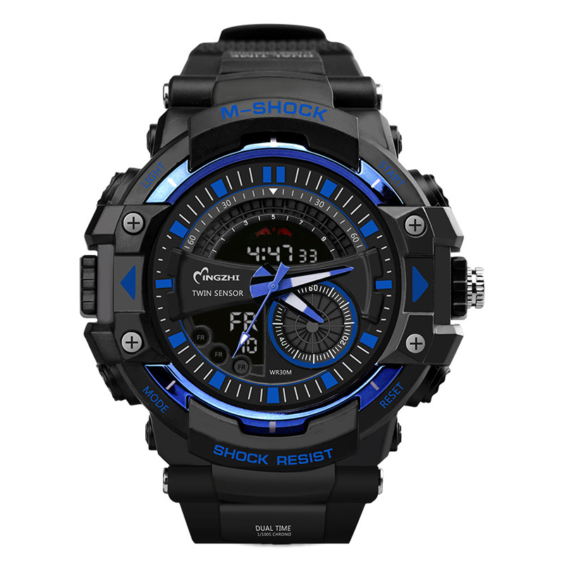 Sport Watch Dual Time Display Men Watch Digital Writwatch LED 50m Waterproof Men's Watch Saat Brand Luxury Male Clock 20