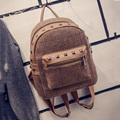 Rivet vintage small backpack women wool school bags for teenage girls pu patchwork leather backpack female travel bag