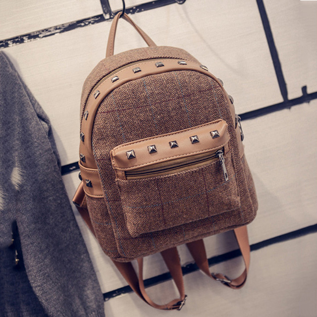 6f6af13120ed Rivet vintage small backpack women wool school bags for teenage girls pu  patchwork leather backpack female