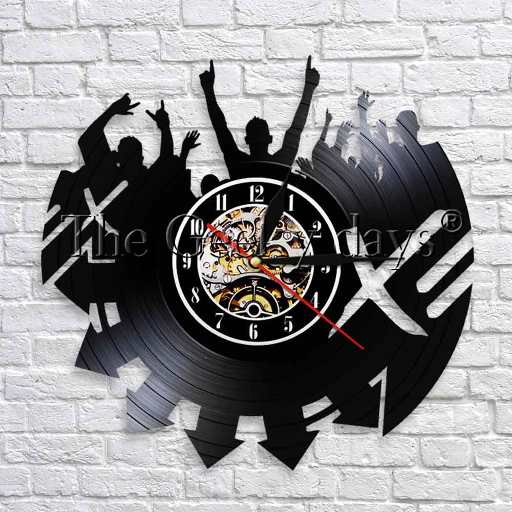 Rock Music Lover Silhouette Decorative Wall Clock Rock N  Roll Vinyl Record Time Clock 3D Wall Watch Gift For Music Lover
