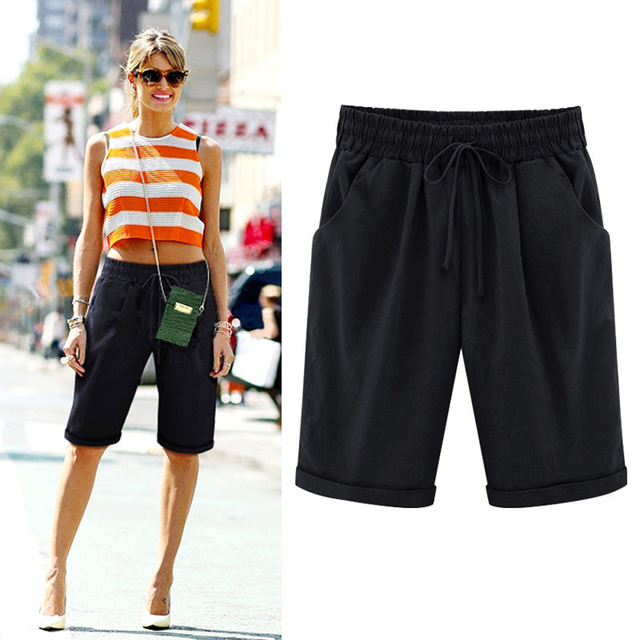 Oversized Women Summer Cotton linen Shorts Casual Ladies Drawstring Elastic Loose Short Trousers Plus Size S-8XL WDC2019 3