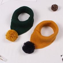 Детский зимний шерстяной шарф с воротником для детей, вязаный воротник с шариками, Детские шарфы, шейный платок, аксессуары для одежды