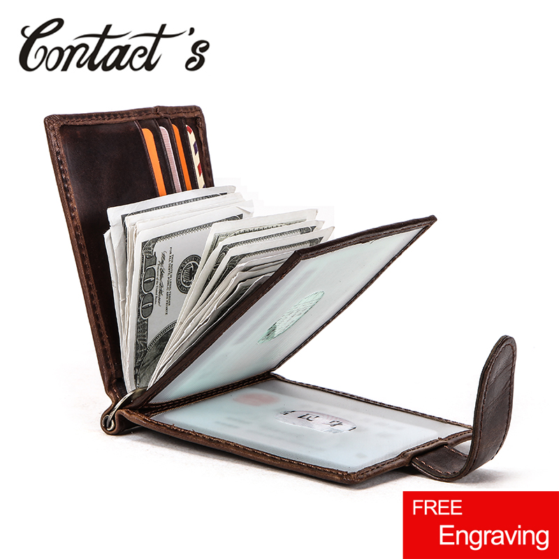 Contact's Hasp Design Men Wallets Short Money Clip Genuine Leather Slim Male Card Organizer Bifold Wallet Money Case Carteras