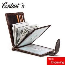Contacts Hasp cartera de diseño de hombre para dinero corto, billetera organizadora de tarjetas masculina delgada de cuero genuino con dos pliegues, funda para dinero