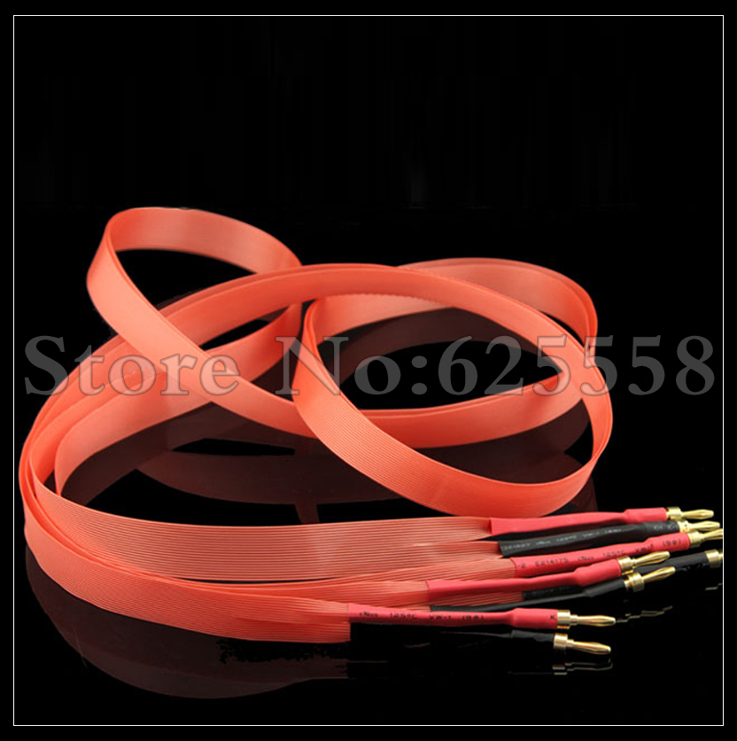 3M/Pair  Hi-End Red Dawn Hifi Audio Speaker Cable  Gold plated banana or spade plug mpsource tena hi end 99 99997% occ 24k gold plated banana speaker connector plug bi wire speaker audio cable amplifier 1 pair