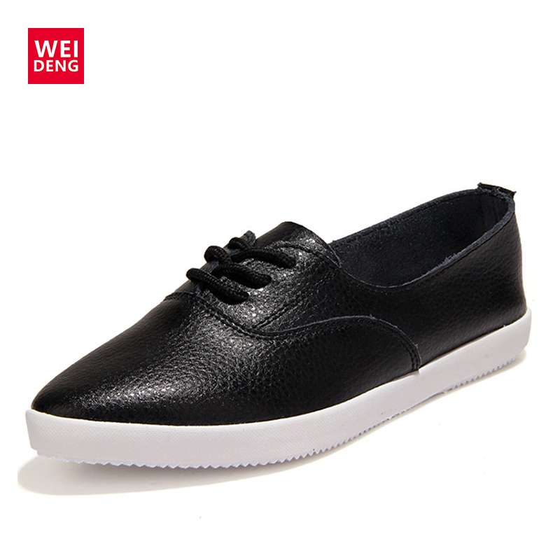 WeiDeng Casual Women Genuine Leather Flats Vulcanized Shoes Sneakers SchoolFashion White Lace Up Slip On Women Shoes Summer 2018 m genreal 2017 new women white shoes all match summer breathable leather shoes vulcanized casual shoes candy color lace 35 39