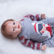 Blue Eyes Reborn Silicone Doll 22 Inch Realistic Newborn Babies Doll Lifelike Dolls With Lovely Clothes Kids Best Playmate