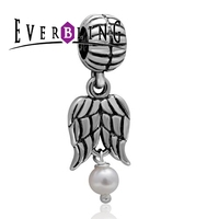 Angel Wings Dangle Charms Simulated Pearl 100 925 Sterling Silver Charm Beads Fits Pandora European