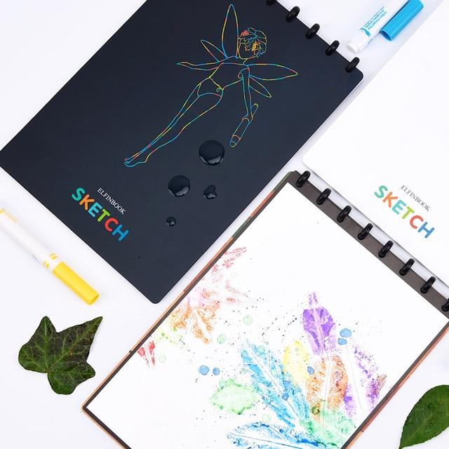 Elfinbook رسم A4 الرسم رسم دفتر الذكية قابلة لإعادة الاستخدام مع مسح التطبيق