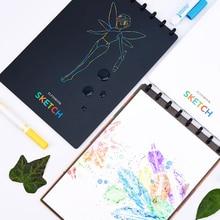Elfinbook esboço a4 pintura caderno, desenho, reutilizável, com app, scanner