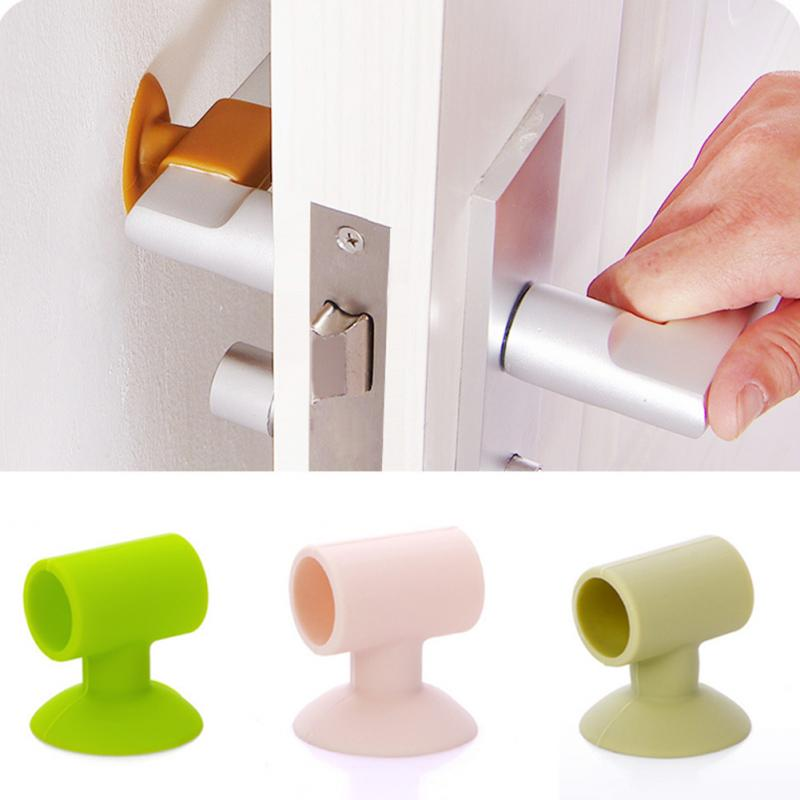 Modern Home Door Handle Case Self-adhesive Door Handle Knob Covers Anti-collision Protector Pad Rubber Bumper Plugs