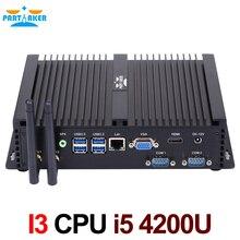 Без вентилятора Мини-ПК i5 4200U промышленных мини-компьютер 24 часов работы 2 com HDMI VGA двойной Дисплей 300 м Wi-Fi 4 К HD HTPC