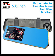 "5.0 ""Dual Camera Car Dvr + Rearview Mirror video + Radar Detector Dash G-Sensor 1080P HD with night driver recorder 140 Degree"
