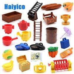Große Partikel Bausteine Treppen Lebensmittel Obst Container Warenkorb Kompatibel mit Duplo Sets Zubehör Ziegel DIY Baby Spielzeug