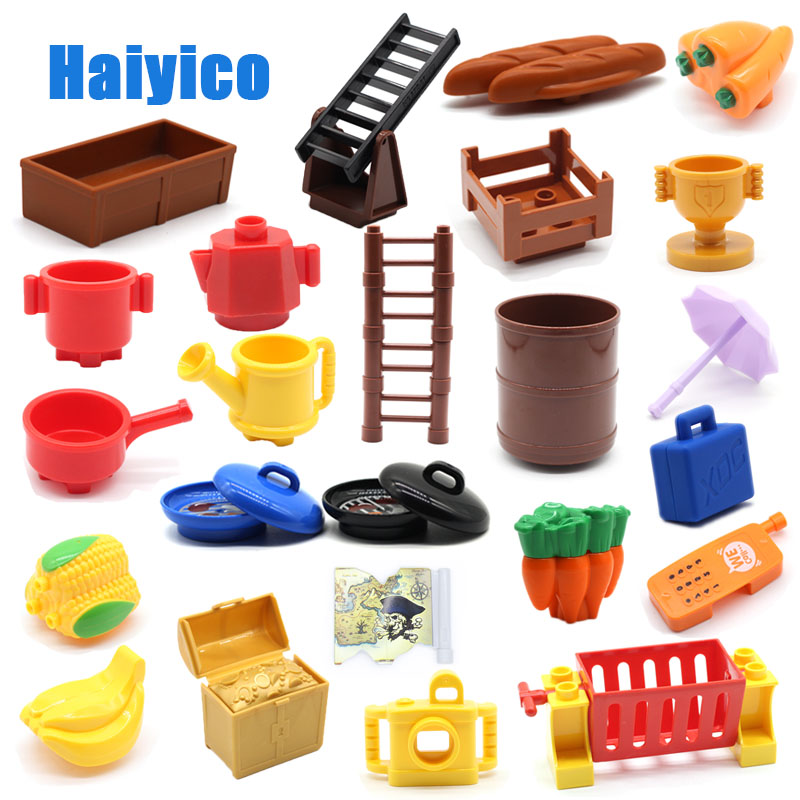 Large Particles Building Blocks Stairs Food Fruit Container Basket Compatible With Duplo Sets Accessories Bricks DIY Baby Toys