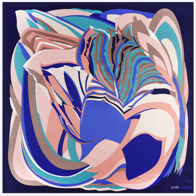 POBING 100% Silk Scarf Women Large Shawls Geometric Print Stoles Square Scarves Bandana Big Kerchief Scarf Female Foulards 130CM
