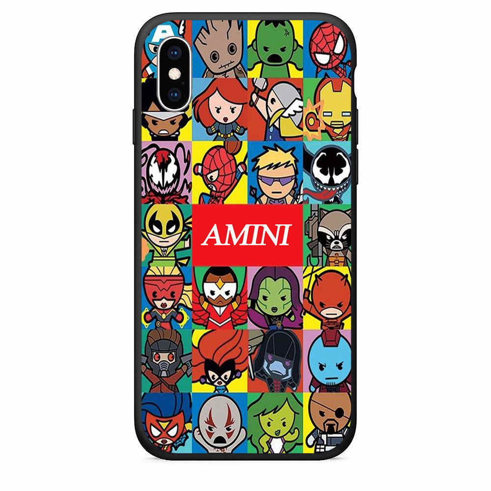 Amini Eggos Spiderman Impressão TPU Caso de Telefone Para O iphone 7 8 Plus X 5S SE Caso Para iphone 6 Plus XR XS max Fosco Suave Tampa Traseira