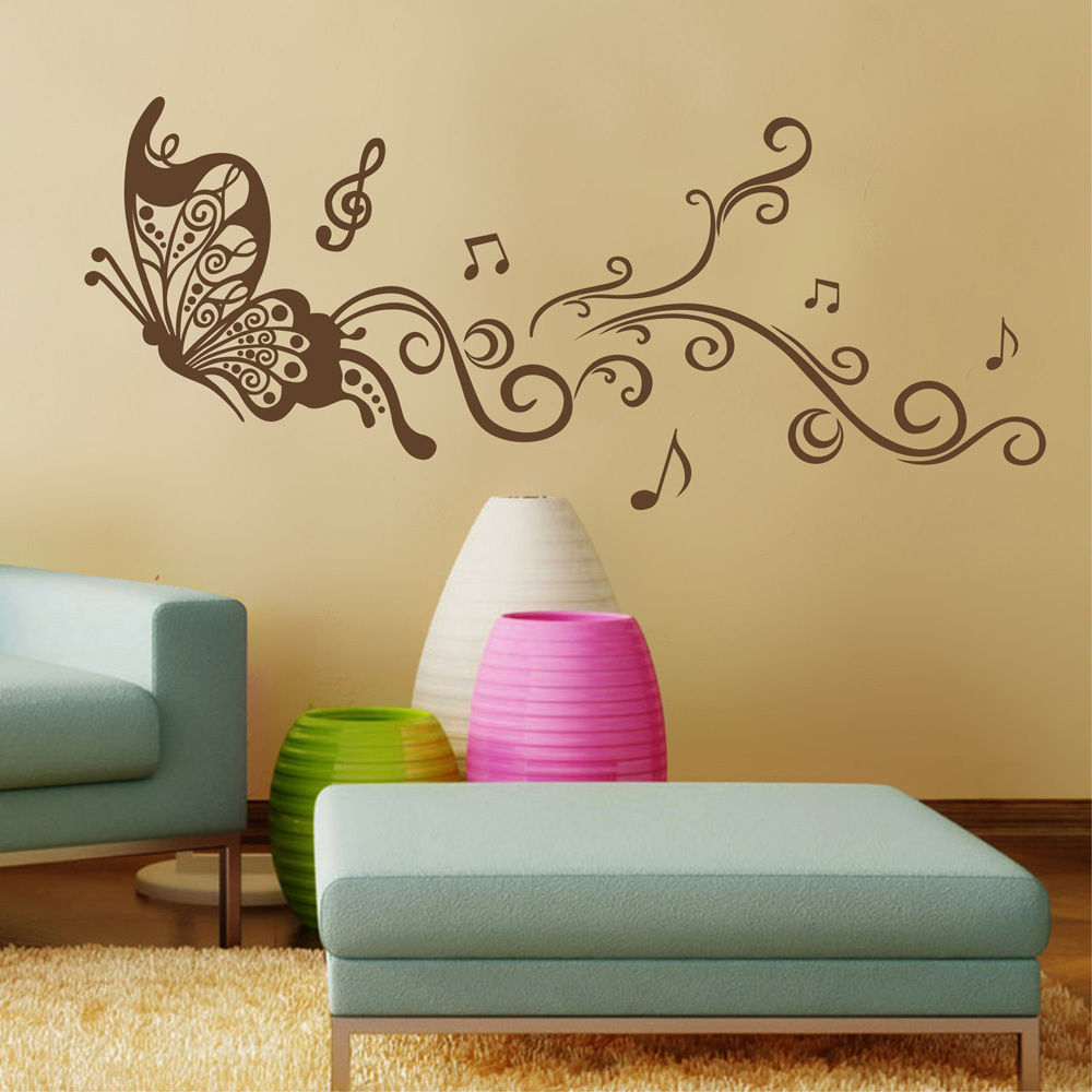Butterfly wall decals for bedroom living room art for Bedroom 3d wall stickers