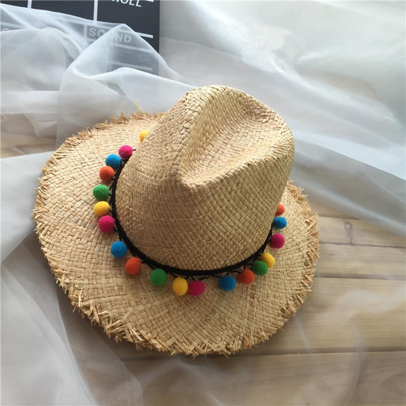 35299231f05 ... 2018 Women Sun Hats Summer Color Pompom ball Style Sun Hat Girl Floppy  Wide Brim Beach ...