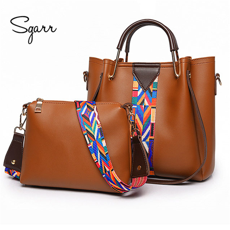 SGARR Black Yellow Women 2-Pieces Handbag Leather Purse Luxury Famous Brand Zipper Soft Shoulder Bags Laides Brown Crossbody Bag sgarr red black grey brown women big tote handbag fashion large female purse ladies party hasp soft leather wine shoulder bags