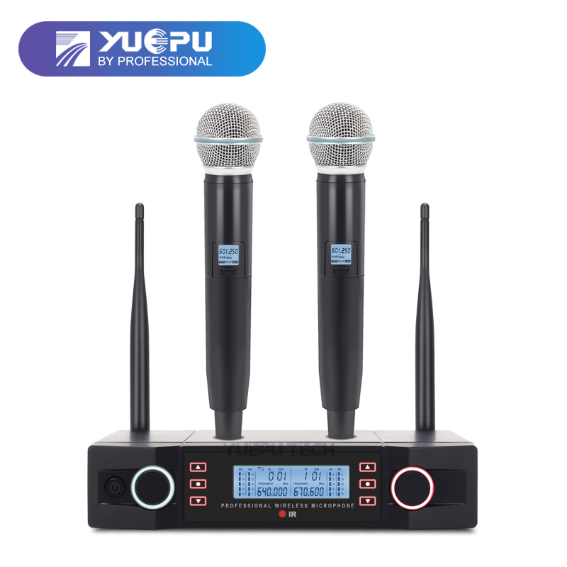 YUEPU RU-D210 UHF Handheld Karaoke Microphone Wireless Professional System 2 Channel Frequency Adjustable Cordless For Church xtuga ew240 4 channel wireless microphones system uhf karaoke system cordless 4 handheld mic for stage church use for party