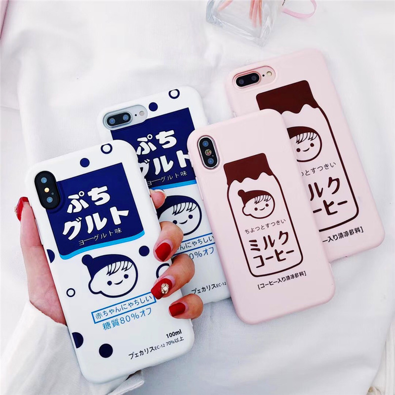 Cute 3D Cartoon Strawberry Milk Girl Silicon Iphone X 6 7 8 6S Plus XR XS MAX Kawaii Milky TPU Back Cover Phone Cases