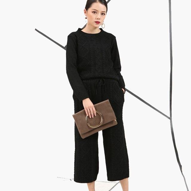 [Soonyour] 2017 Мода Новая Коллекция Весна Корейский свободно вокруг шеи вязать топ + брюки утолщение двух штук свитер набор