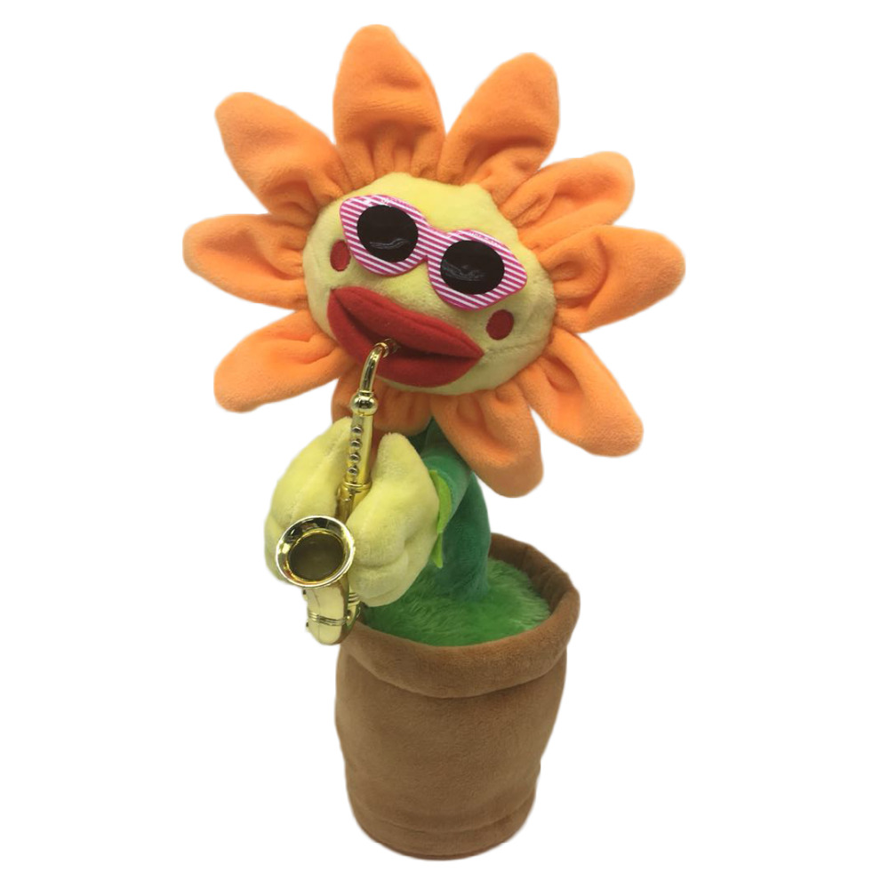 Novelty Simulation Sunflower Saxophone Music Electric Glowing Plush Beautiful Funny Dancing Flower Toy for Kids Christmas Gift