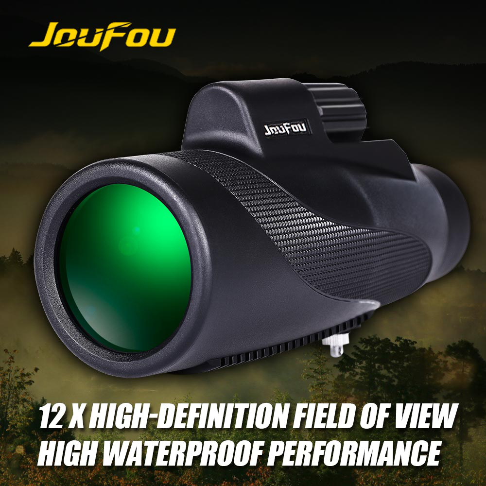 JouFou 12X50 Mini  Monocular Zoom Telescope Optic Lens High Power Waterproof HD Wide Vision for Outdoor Hunting original boshile high power 15 75x25 mini zoom monocular pocket flexible focus zoom telescope for camping dy007