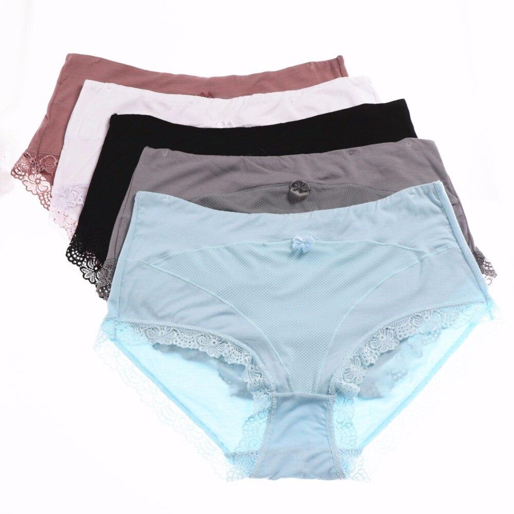 5Pcs Xl 5Xl High Waist Modal Womens Briefs Plus Size Shorts Panties Underwear Butt -2976