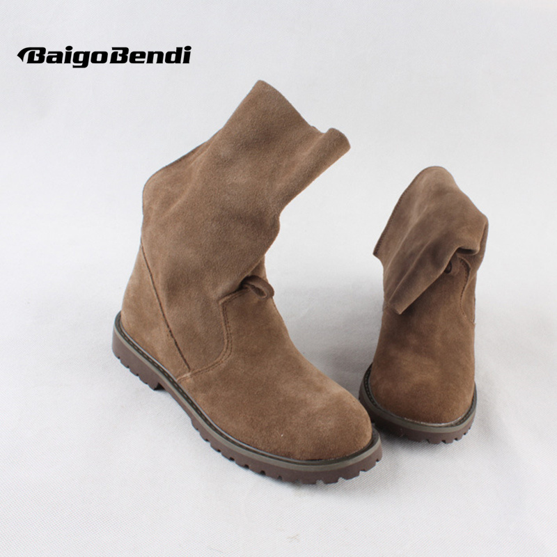 US 5-9 Brand Soft Genuine Leather Flat Heel Pull On Ridding Boots Winter Mid-calf Boots Military Boots