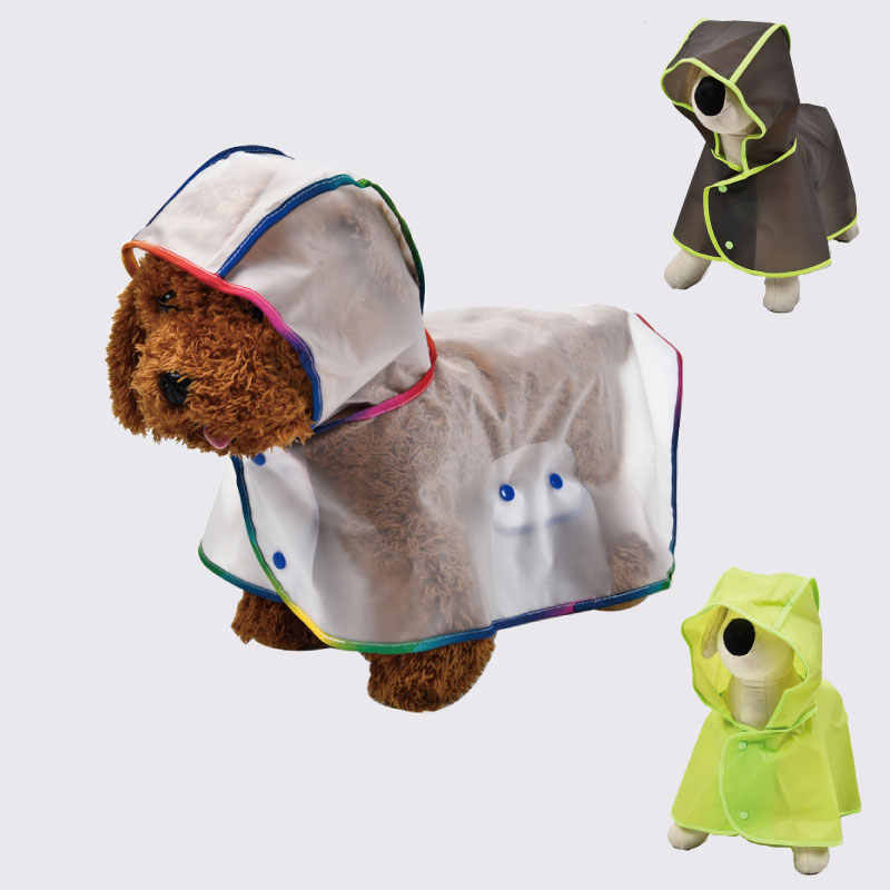 Dog Light Teddy Transparent Plastic Poncho Pet PVC Waterproof Transparent Rain Coat Jacket with Hood XS, Black for Small and Medium-Sized Dogs