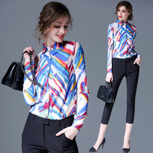 High Quality Women Floral Print Polo Blouse Cardigan Tops Blouse Female 2017 Summer OL Women's CHIFFON Silk Blouse Shirts JA2505