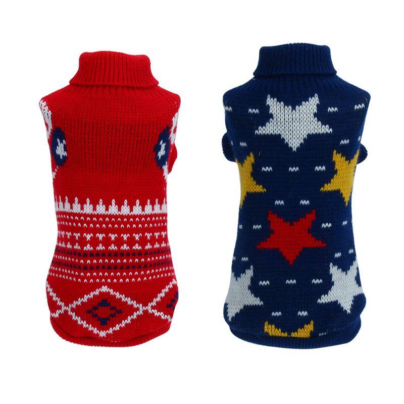 ③Perro de perro estrella patrón ropa gato Invierno Caliente suéter ...