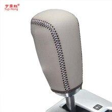 יוג י הונג רכב הילוך מכסה מקרה עבור וולוו XC60 09 12 אוטומטי הילוך Shift קולרים אמיתי עור אוטומטי כיסוי יד תפור