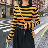 2018 New Autumn Knitting Striped Slim Sweater Base Blouse Shirt Khaki Red Green Yellow Black Apricot F5371