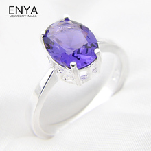 ENYA Oval Wedding Ring Fashion Silver Plated Jewelry Romantic Purple Stone Ring Cubic Zirconia Crystal Ring For Women R0680