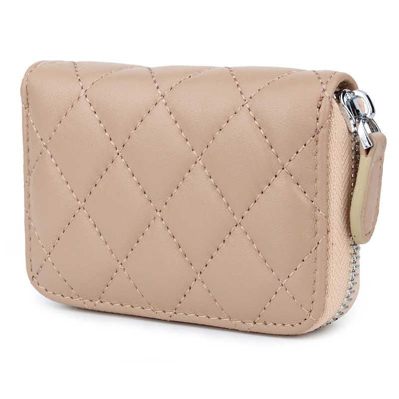 On Sale Brand Genuine Leather Minimalist Organizer Women Business Card Holder Men Cowhide Travel Zipper Card Bag Dropshipping