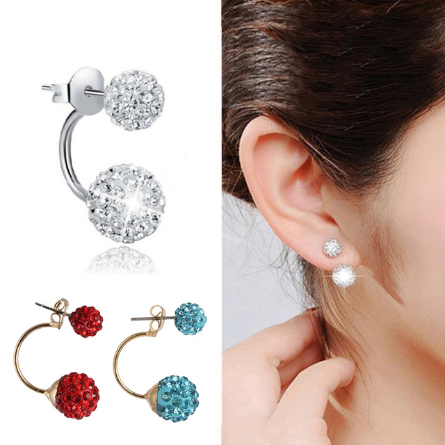 zircon korean double stud jewelry back ear new super product site sided fashion for earrings front saving crystal women
