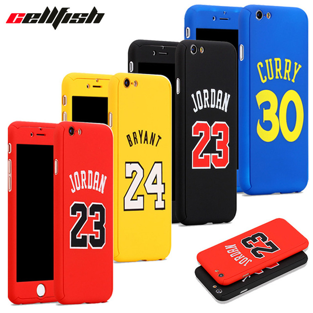 quality design ececb 8be90 360 NBA Case + Temper Glass for funda iPhone 6 6s 7 8 Plus Michael Air
