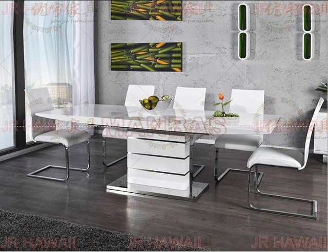 Mesa plegable minimalista moderna de acero inoxidable blanco comedor ...